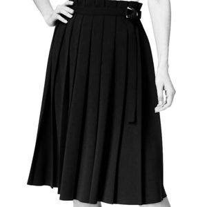 NWT Black Calvin Klein Pleated, Belted Skirt